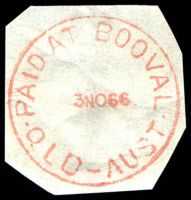Lot 1184:Booval: 'PAID AT BOOVAL/3NO66/QLD-AUST' in red. [Rated 2R]  RO c.1883; PO c.-/8/1912; renamed Booval Fair PO 4/3/1991.