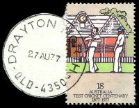 Lot 8301:Drayton North: - 'DRAYTON NORTH/27AU77/QLD-4350', on 18c Cricket (cut-to-shape). [Rated 2R]  PO 11/12/1950.