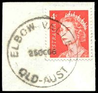 Lot 7409:Elbow Valley (3): - 'ELBOW VALLEY/25OC66/QLD-AUST', on 4c red QEII. [Rated 3R by Smithies]  RO 1/2/1922; PO 1/7/1927; closed 8/9/1971.