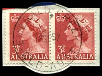 Lot 1215:Emerald Creek: 'EMERALD CREEK/18SE57/QLD-AUST' on 3½d red QEII. [Rated R ]  TO c.1950; PO c.-/9/1956; closed 31/1/1972.