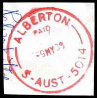 Lot 1287:Alberton: - 'ALBERTON/PAID/9MY88/S-AUST-5014' (changed to LDL) in red.  PO 1/1/1855.