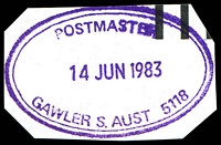 Lot 2114:Gawler: - violet double-oval 'POSTMASTER/14JUN1983/GAWLER S.AUST 5118' (unrecorded) on piece.  PO 18/5/1841.