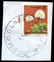 Lot 1467:Gladstone: 'M.O.GLADSTONE/18NO77/SOUTH-AUST', on 18c Flower. [Rated R]  PO 1/4/1873.