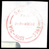 Lot 16463:Skipton: - WWW #220B 'SKIPTON/PAID/2P-4OC82/VIC-AUST-3361' in red. [Recorded for about 2 years]  PO 6/3/1858; LPO 10/8/1993.