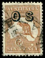 Lot 162:6d Chestnut Overprinted 'OS' BW #22(OS) Cat $60, couple of short perfs.