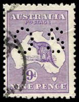 Lot 146:9d Violet Die IIB BW #27ba [4L15] Upper outline of 2nd 'E' of PENCE is missing at right end perf small 'OS'.