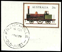 Lot 1152:Frenchville: - 'FRENCHVILLE/4701/27NO79/QLD-AUST' (Postcode added) on 20c PSE cut-out. [Rated 4R]  PO 1/7/1966.