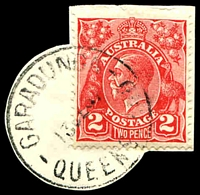 Lot 1154:Garradunga (2): - 'GARADUNGA/13SE37/QUEENSLAND' (one R) on, 2d red KGV (cut-to-shape). [Rated 3R]  RO 5/1/1923; PO 1/4/1925.