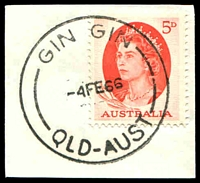 Lot 1601:Gin Gin: - 'GIN GIN/4FE66/QLD-AUST' (ERD - arcs 13,14), on 5d red QEII. [Rated 3R]  PO 15/3/1875.