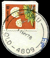 Lot 1226:Giru: - 'GIRU/11MY78/QLD-4809', on 18c Flower (cut-to-shape). [Rated 2R]  PO c.1922.