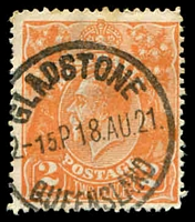 Lot 1157:Gladstone: - 24½mm 'GLADSTONE/2-15P18AU21/QUEENSLAND' (recut - larger letters), on 2d orange KGV. [Rated 3R]  PO 1/7/1854.