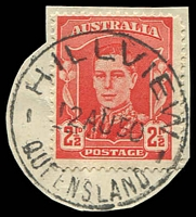 Lot 8377:Hillview: - 'HILLVIEW/12AU50/QUEENSLAND' on 2½d red KGVI. [Rated 3R]  Renamed from Hill View PO c.1903; closed 1/5/1976.