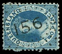 Lot 6908:156: rays (1e) on 2d blue Chalon. [Rated 2R]  Allocated to Georgetown-PO 15/1/1872.
