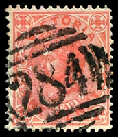 Lot 12237:284: '284' on 1d pink. [Rated SS]  Allocated to Tylden-PO 7/1/1860; LPO 10/3/1994.