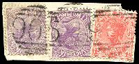 Lot 2129:905: 2 strikes of '905' on 1d pink and 2d violet x2.  Allocated to Kinloch-PO 1/12/1875; renamed Tarkedia PO c.-/6/1877; renamed Kingumwill PO 1/8/1886; renamed Sheep Hills PO 1/9/1886; closed 30/6/1981.