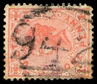 Lot 2542:942: '942' on 1d pink. [Rated S]  Allocated to Acheron-PO 15/4/1876; renamed Taggerty PO 14/9/1893; LPO 1/3/1994.