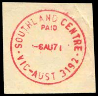Lot 2695:Southland Centre: WWW #310A 'SOUTHLAND CENTRE/PAID/6AU71/VIC-AUST 3192' in red.  PO 3/9/1968.