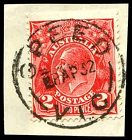 Lot 2948:Speed: - WWW #20A 28mm 'SPEED/■8AP32/VIC' on 2d red KGV.  RO 1/10/1910; PO 3/8/1912; LPO 1/3/1994.