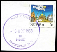 Lot 17426:Springvale (3): - WWW #95 43mm 'POST OFFICE/3OCT1988/TEL./546 6397/SPRINGVALE 3171' (Only recorded date) in violet on 1c Living Together.  Renamed from Springvale R.S. PO 20/10/1902.