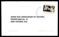 Lot 2706:Staghorn Flat: - WWW #20 double-circle 'STAGHORN FLAT/22MAR19??/VIC. 3691' in blue on 45c Bat on Guide Dog cover.  RO 15/9/1910; PO 1/4/1919; LPO 1/6/1994.