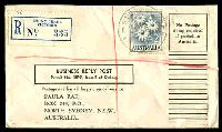 Lot 2711 [1 of 2]:Stony Creek (2): WWW #40 'STONY CREEK/30NO62/VIC-AUST' on 2/- Flower on Business Reply Post cover with blue registration label.  PO 23/5/1892; LPO 11/8/1994; closed 1/7/2005.