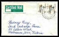 Lot 2970:Sunshine (2): - WWW #110 'SUNSHINE/15FE82/VIC-3020' (arcs 11,11), on 45c Woodswallow pair with 58x29mm Certified Mail label addressed to Rodney Perry.  Renamed from Sunshine South PO c.1910.