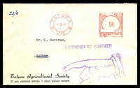 Lot 17237:Tatura: - Tatura Agricultural Society cover with meter cancel of 16 October 1967 and 'UNKNOWN BY POSTMEN' violet cachet and pointed finger 'RETURN TO SENDER' on front.  PO 1/2/1875.