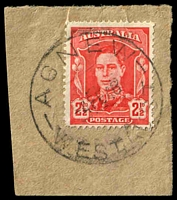 Lot 17826:Agnew: - 'AGNEW/4FE46/WEST.AUST', on 2½d red KGVI.  Renamed from E.M.U. Mine Lawlers PO 17/12/1936; closed 2/7/1979.