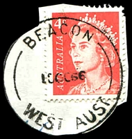 Lot 17829:Beacon: - 'BEACON/18OC66/WEST AUST' on 4c red QE (cut-to-shape).  TO 1/12/1931; PO 15/2/1933.