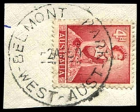 Lot 3069:Belmont Park: 'BELMONT PARK/2AP59/WEST-AUST' (E31a - 'T'-'P' = 6mm) on 4d red QEII.  PO 1/1/1906; renamed Belmont PO 1/11/1966.