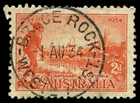 Lot 3535:Bruce Rock: - 'BRUCE ROCK/1AU34/WESTN AUST.' (B27), on 2d Vic Centenary.  Renamed from Nunagin PO c.-/11/1913.