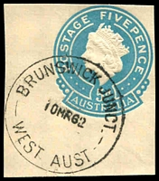Lot 3397:Brunswick Junction: - 'BRUNSWICK JUNCT./10MR62/WEST AUST' on 5d blue cut-out.  Renamed from Brunswick PO c.-/6/1909.