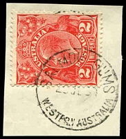 Lot 18605:Salmon Gums: - 'SALMON GUMS/2?JL34/WESTERN AUSTRALIA' (A25) on 2d red KGV.  PO 1/12/1923.