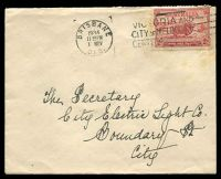 Lot 748:1934 Macarthur 2d carmine tied to plain FDC by Brisbane machine cancel 1 Nov 1934, some toning around stamp.