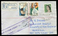 Lot 7523 [2 of 2]:University of New England, Armidale: - violet 31mm 'UNIVERSITY OF NEW ENGLAND/25/OCT/1968/ARMIDALE N.S.W.2351' backstamp on registered Brown cover with 2 strikes of 'SHEOAK LOG/9P23OC68/STH AUST' (B2) on 3c green QEII & 7c & 15c AAT sent to The University of New England.  Renamed from Armidale University PO 1/11/1963.