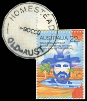 Lot 1650:Homestead: - 'HOMESTEAD/9OC80/QLD-AUST' (LRD) on 22c Folklore (cut-to-shape). [Rated 2R ]  RO c.1884; PO c.1894.
