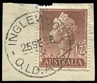 Lot 1654:Inglewood: - 'INGLEWOOD/25SE58/QLD.AUST.' (recut - Q'LD now QLD), on 1/7d QEII. [Rated 2R ]  PO 16/9/1866.