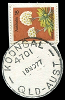 Lot 1246:Koongal: - 'KOONGAL/4701/18NO77/QLD-AUST' (ERD) on 18c Flower (cut-to-shape). [Rated R]  PO c.1946; closed c.1993.