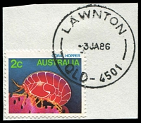 Lot 7627:Lawnton: - 'LAWNTON/3JA86/QLD-4501', on 2c Coral hopper. [Rated 2R]  RO 15/4/1899; PO 1/7/1927.