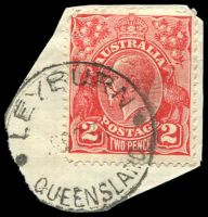 Lot 8461:Leyburn: - 'LEYBURN/9OC31/QUEENSLAND' (type 40a) on 2d red KGV (cut-to-shape). [Rated S by Smithies]  PO 1/1/1861.