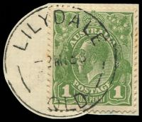 Lot 1253:Lilydale: 'LILYDALE/2MY36/QLD' (ERD) on 1d green KGV (cut-to-shape). [Rated 2R]  RO c.1891; PO 1/7/1927; closed 1/6/1971.