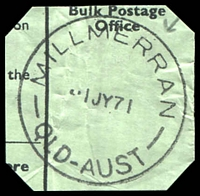 Lot 1542:Millmerran: - 'MILLMERRAN/1JY71/QLD-AUST' (arcs 4,5). [Rated 3R]  Renamed from Domville PO 16/11/1894.
