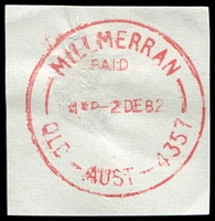 Lot 1678:Millmerran: - 'MILLMERRAN/PAID/415P2DE82/QLD-AUST-4357' in red. [Rated 2R]  Renamed from Domville PO 16/11/1894.