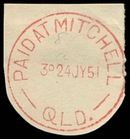 Lot 1544:Mitchell: - 'PAID AT MITCHELL/3D24JY51/QLD.' (ERD) in red. [Rated 3R]  Renamed from Mitchell Downs PO c.1878.