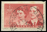 Lot 1643:Moffat Beach: - 'MOFFAT BEACH/4FE54/QLD-[AUST]' on 3½d Royal Visit. [Rated 2R]  PO 1/7/1946.