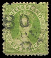 Lot 6837:80: 2 partly overlapping strikes of rays (1e) on 6d green Chalon. [Rated 4R on Chalon]  Allocated to Mitchell Downs-PO 1/1/1865; renamed Mitchell PO c.1878.