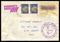 Lot 1630 [1 of 2]:Alberton: - 2 strikes of 'ALBERTON/5P17MR87/S.A.-5014', on 60c Lionfish x2 on 36c PSE (tone spots) with violet 12-hr 'PRIORITY/PAID/17MAR1987/ALBERTON/S.AUST./5014' (A2) and small Priority Paid label on front.  PO 1/1/1855.