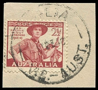 Lot 16816:Thalia: - WWW #20A '[TH]ALIA/11DE48/VIC.-AUST.', on 2½d Jamboree. [Rated 4P - the first offered by us]  PO 14/10/1892; RO 1/1/1927; PO 1/7/1927; closed 30/6/1969.