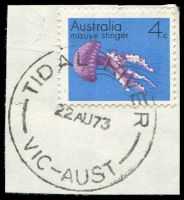 Lot 17359:Tidal River: - WWW #10A 'TIDAL RIVER/22AU73/VIC-AUST' on 4c Stinger.  Renamed from Tidal River Camp PO c.-/1/1965; closed 16/9/1993.