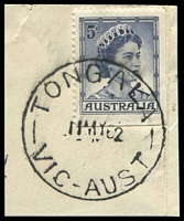 Lot 16959:Tongala (3): - 'TONGALA/11MY62/VIC-AUST' (arcs 5,5) on 5d blue QEII.  Renamed from Tongala R.S. PO 14/12/1908; LPO 31/3/1994.